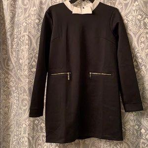 Black & white bow collar scuba dress